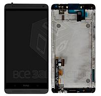 Дисплей для  телефона HTC One Max 803n, черный, с сенсорным экраном, с передней панелью