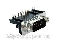 Разъем DRB-9MB — 9 контактов, вилка на плату, прямой угол, 9,4 мм