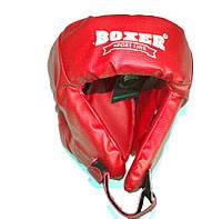 Боксерский шлем Boxer закрытый (пвх) красный