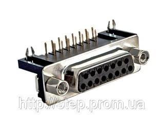 Роз'єм DRB-15FA — 15 контактів, розетка на плату, прямий кут 7,2 мм