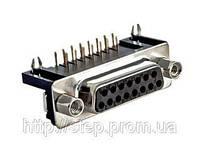Разъем DRB-15FA — 15 контактов, розетка  на плату, прямой угол 7,2 мм