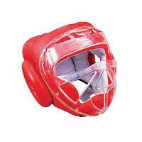 Шлем боксерский со съемной маской Sprinter (кожа) красный