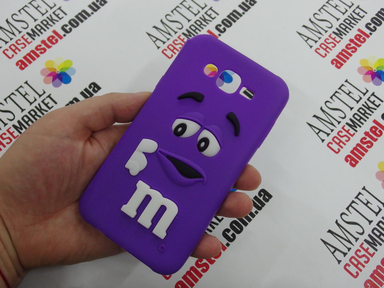 Объемный 3D силиконовый чехол для Samsung Galaxy J7 J700 M&M's фиолетовый