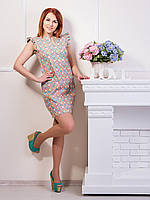 Стильное платье с принтом абстракция р. 44-46