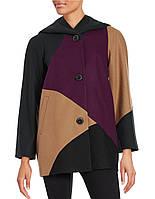 Женское разноцветное шерстяное пальто с капюшоном осень / весна Gallery New York