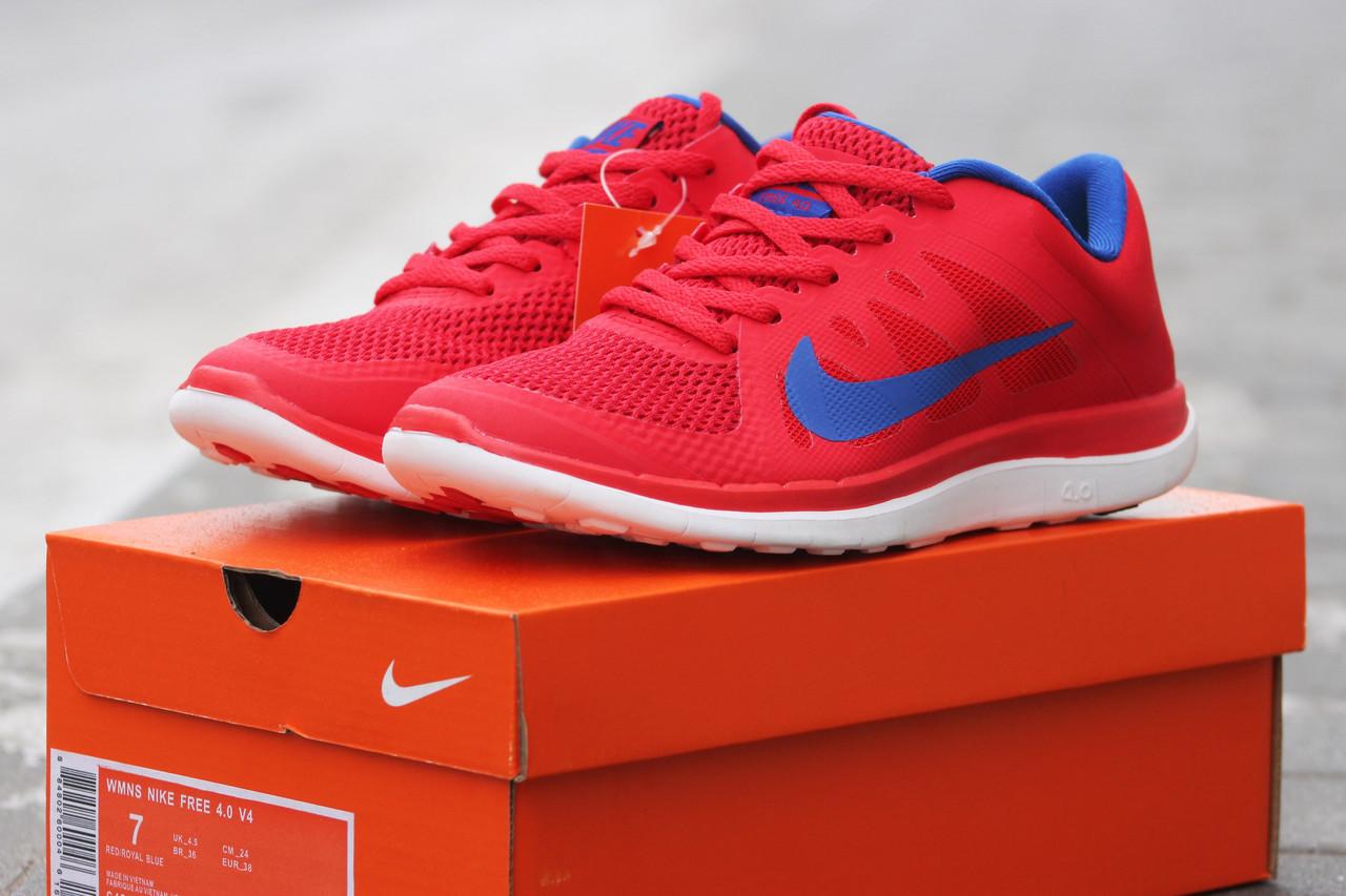7d51cfe7 Женские кроссовки Nike Free Run 4.0, красные, текстиль+сетка, подошва пенка