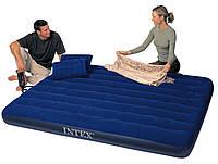 Надувной матрас (кровать) велюр INTEX 68765 синий,насос+подушка(43*28*9см) в кор. 152*203*22 IKD