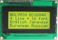 ЖК индикатор BC 1604 AGPLCW, 16 симв., 4 строка