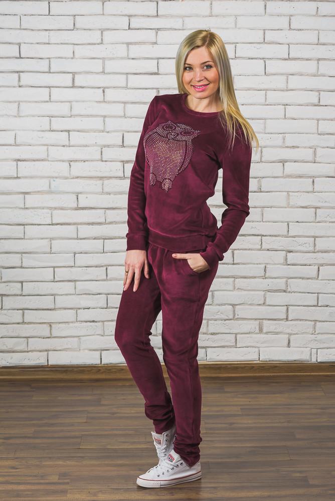 Женский велюровый костюм бордо - Интернет-магазин