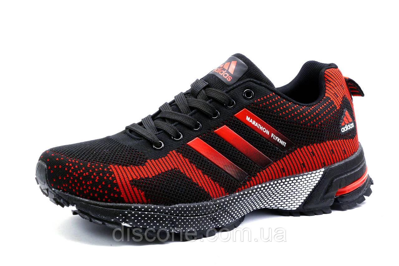 Кроссовки Adidas Marathon, мужские, черные с красным, р. 41 42 43 44 45 46