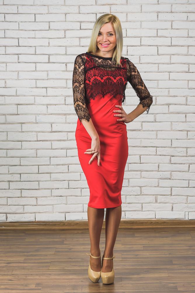 Платье футляр+кружевное болеро красное