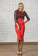 Платье футляр+кружевное болеро красное, фото 1