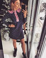 Платье Doratti в горошек с отделкой из велюра и жемчуга мини трикотаж SMdor1139