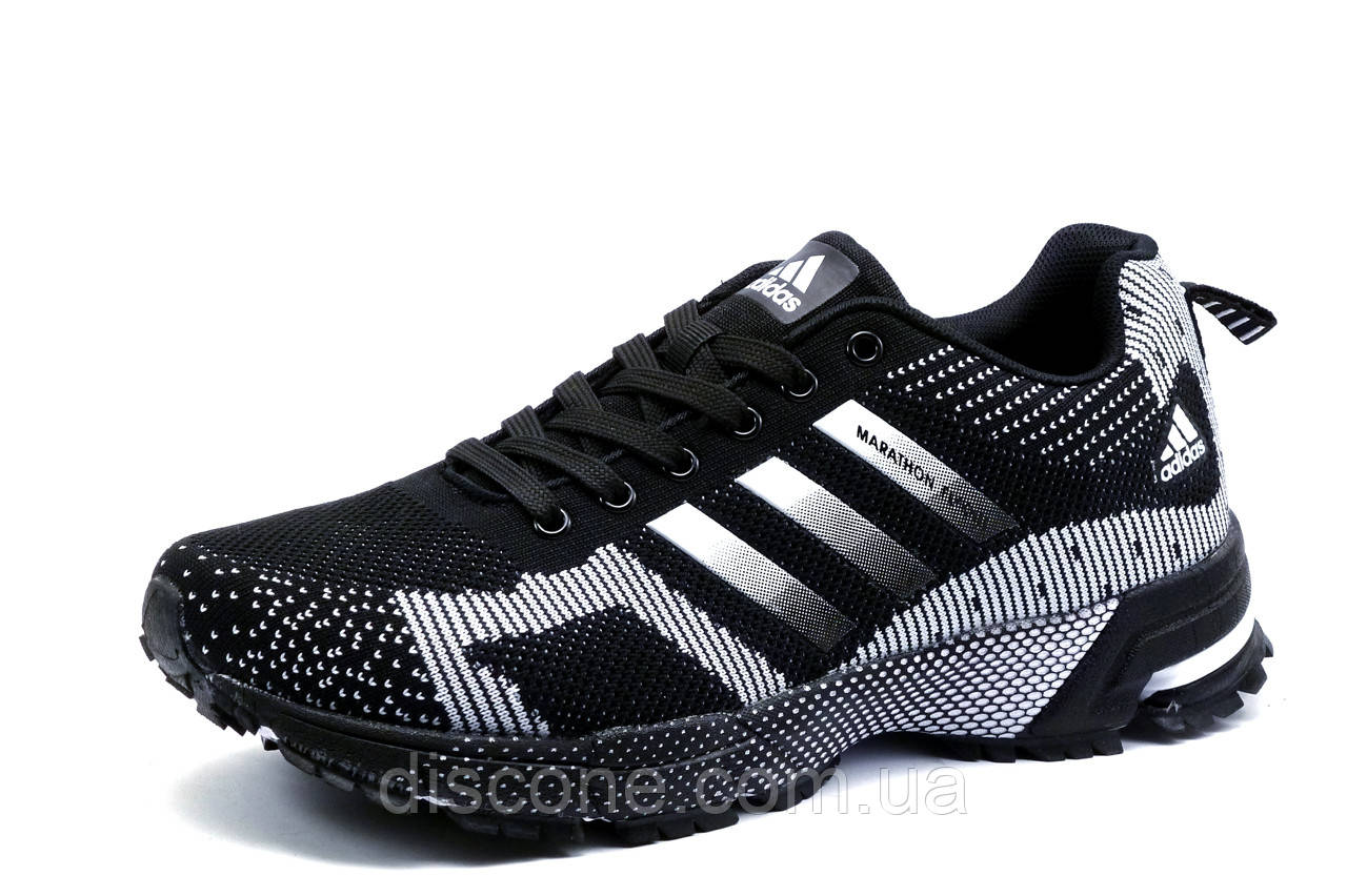 Кроссовки Adidas Marathon, мужские, черные с белым, р. 41 42 43 44 45 46