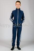 Подростковый костюм темно-синий с белым лампасом