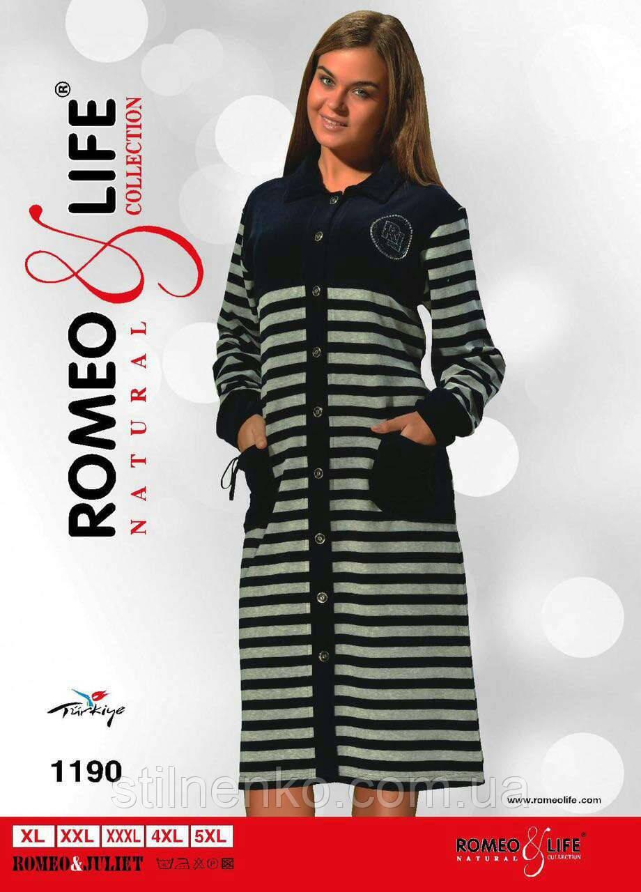 """Велюровый халат на пуговицах р-ры XL-5XL """"Romeo&Life"""" Турция"""