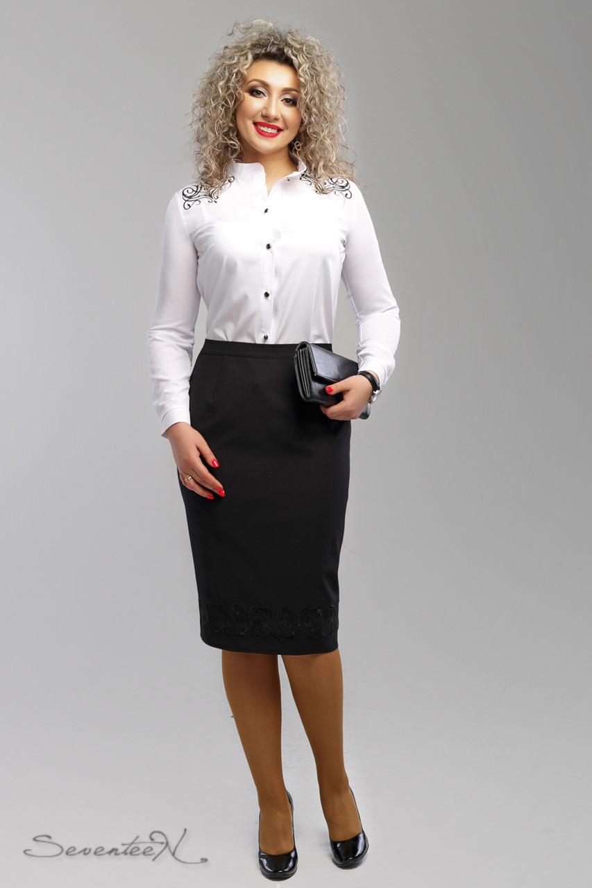 f9804622d5e Элегантная черная юбка для пышных модниц (костюмная ткань с вышивкой ...