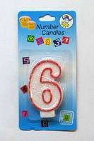 """Свеча - цифра """"6"""" для торта с окантовкой"""