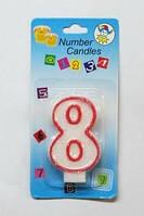 """Свеча - цифра """"8"""" для торта с окантовкой"""