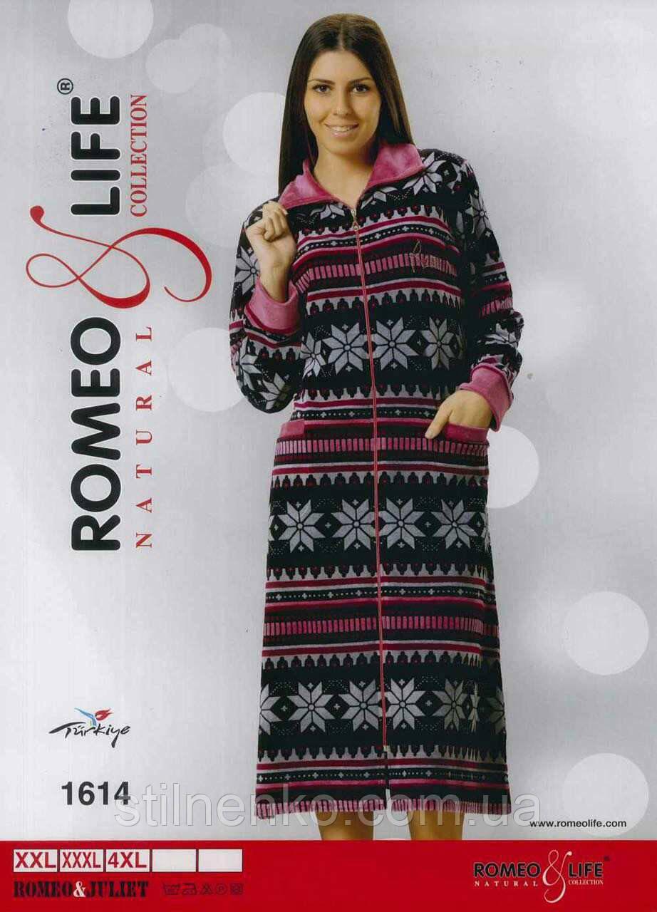 """Молодежный велюровый халат р-ры 2XL,3XL,4XL """"Romeo&Life"""" Турция"""
