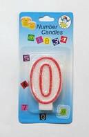 """Свеча - цифра """"0"""" для торта с окантовкой"""