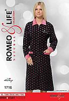"""Велюровый халат больших размеров р-ры XL-5XL """"Romeo&Life"""" Турция"""