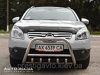 """Защита передняя """"кенгурятник"""" с грилем и круглой перемычкой на Nissan Qashqai"""