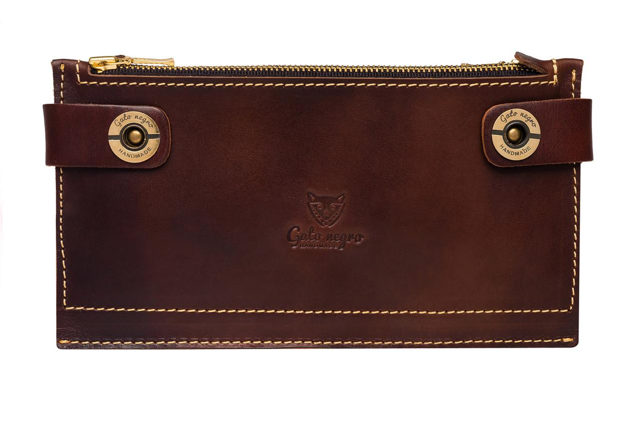 af637c614ac2 Кожаный кошелек клатч ручной работы Gato Negro Twin мужской, коричневый ( кошельки из натуральной кожи