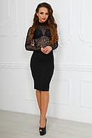 Модное черное стрейчевое платье с кружевным верхом. Арт-9793/83