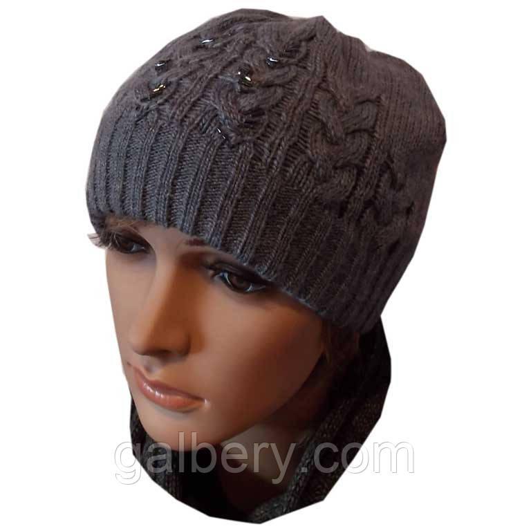 """Женская вязаная шапка """"косы"""" с бисером, джинсово - серого цвета"""