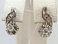 Серьги с бриллиантами  золотые 583 пробы,СССР