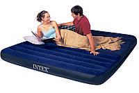 Надувной матрас (кровать) велюр INTEX 68755 синий, (без насоса) в кор. 183*203*22см IKD