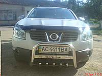 """Защита передняя """"кенгурятник"""" с грилем и с надписью Nissan Qashqai"""