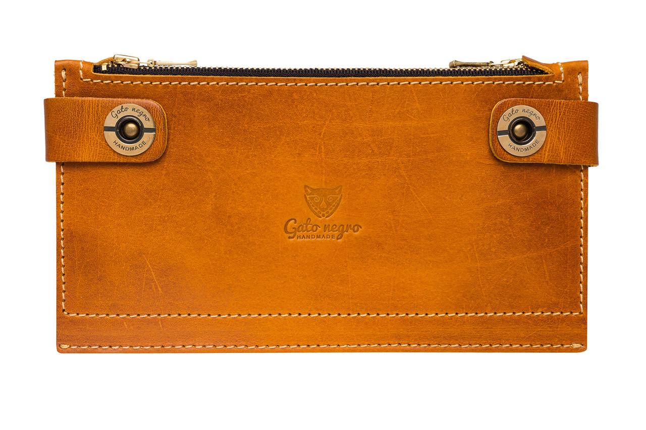 7070450fb381 Кожаный кошелек ручной работы Gato Negro Twin мужской, рыжий (кошельки из  натуральной кожи)