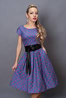 Интирессное платье из стрейчевого джинса в розовый горох