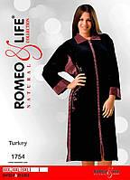 """Велюровый халат больших размеров р-ры 3XL,4XL,5XL """"Romeo&Life"""" Турция"""