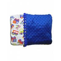 Плюшевое одеяло Синее с машинками