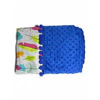 Плюшевое одеяло Синее с перышками