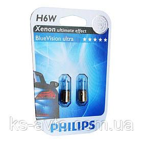 Автомобильная лампа Philips Blue Vision ultra H6W 12036BVB Xenon effect