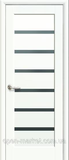 Модель Линея BLK стекло белый матовый межкомнатные двери, Николаев