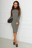 Женское  платье делового стиля с атласным воротником, гусиные лапки. Арт-9794/83