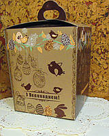 Коробка для Пасхи №2 (упаковка 3шт.) Коричневая