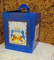 Коробка для Пасхи №3 (упаковка 3шт.) Синяя