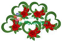Сердце с букетом роз