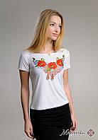 Жіноча біла вишиванка на короткий рукав із рослинним орнаментом «Диво маки», фото 1