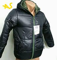Детско-подростковая демисезонная двухсторонняя куртка. ''В/О'' для мальчиков 5-12 лет