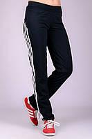 Черные прямые спортивные штаны женские брюки с лампасами трикотажные Украина