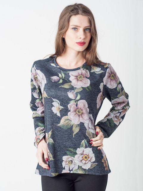 Женская кофта из Ангоры с цветочным принтом Орхидея  - Интернет-магазин «Omoda» в Киеве