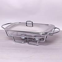Мармит стеклянный 2л с металлической крышкой и подставкой