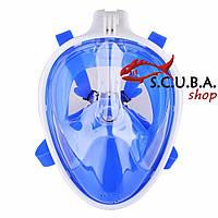 Полнолицевая маска для снорклинга SCUBA+ крепление GO PRO, размер S/M, бело-синий цвет